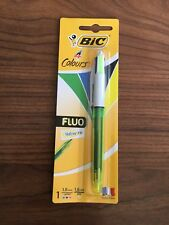 1 x BIC 4 Colours Fluo Yellow Ink Pen 1.6mm - Red Blue Black - Medium Point  NEW