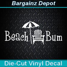 Vinyl Decal.. BEACH BUM w/ Chair Umbrella.. Car Boat Cooler Laptop Ocean Sticker