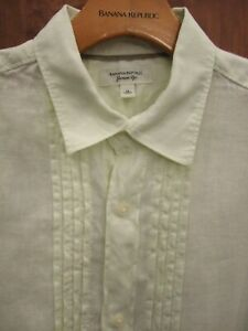 BANANA REPUBLIC Men's 100% LINEN Short Sleeve Shirt, PALE LIME GREEN size MEDIUM