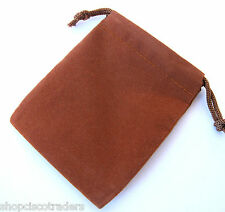 *ONE BAG* BROWN Velour Drawstring 8x10cm QTY1 Wedding Party Favors Pouch A021