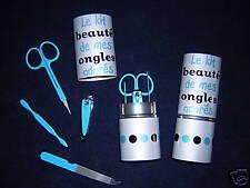 SET MANUCURE luxe AVEC ETUI METAL 4 PIECES couleur bleu