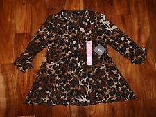 NWT Womens RAFAELLA Brown Leopard Print Tunic Roll Sleeve Blouse Sz Small $65
