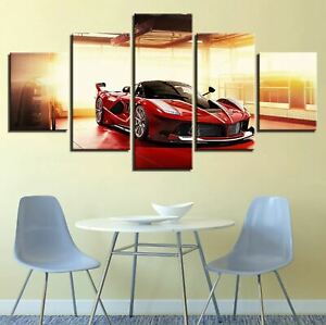 Luxury Red Sports Car 5 Pieces Canvas Wall Art Poster Print Home Deco