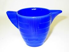 Akro Agate Child Tea Set Large Stacked Disc & Panel Opaque Royal Blue TPot Bases