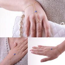 New Celebrity Evil Eye Bead Bangle Slave Chain Finger Ring Hand Harness Bracelet