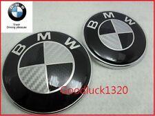 2x BMW Carbon Emblem 82mm+74mm Bonnet/Boot Badge E30 E36 E46 3 5 7 Serie BLACK