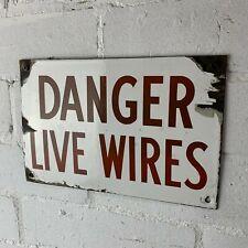 More details for vintage enamelled 'danger live wires' sign
