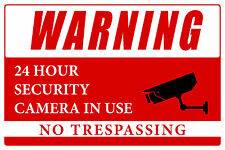 "WARNING 24 HOUR SECURITY CAMERAS IN USE 12""x8"" BUSINESS WARNING SECURITY SIGN"
