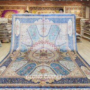 9x12ft Large Dome Pattern Silk Area Rugs Medallion Blue Carpets Handmade 618A