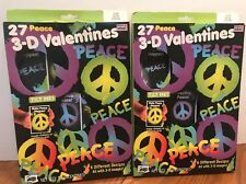 Peace Valentines Day Card Set  3-D 27 cards each 2 Box Lot 54 Cards Total