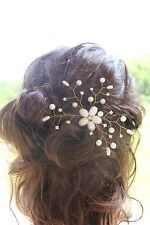Bridal Pearls Rhinestone Hair Vine Comb  Pin Wedding Proms Headpiece Gold silver