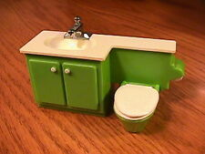 FISHER PRICE DOLLHOUSE FURNITURE BATHROOM SINK/CABINET AND TOILET COMBINATION