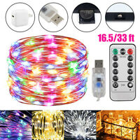 50/100 LED USB Copper Wire Fairy String Lights Twinkle Party Home Decor w/Remote