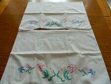 2 Vintage Printed Pillow Cases For Embroidery Hand Crochet Edging