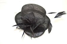 NEW Black sinamay fabric hat with feathers fascinator wire comb wedding races