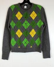 J. Crew M Argyle Cardigan Sweater Gray Green Golf Preppy Wool Cashmere FLAW