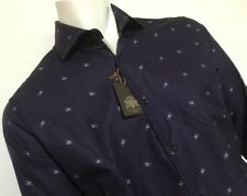 "Circle of Gentlemen 15 1/2""Collar 43 1/4"" Chest  Navy Shirt Printed Logo RRP£189"