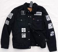 LEVIS Premium Big E Sherpa Trucker Rare Patch Battle Jacket Denim Black Mens 2XL