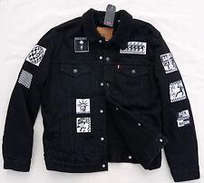 LEVIS Premium Big E Sherpa Trucker Rare Patch Battle Jacket Denim Black Men's S