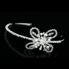 Handmade Butterfly Crystal Rhinestone Pearl Bridal Wedding Tiara Headband V839