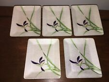 Set Of Five Inaba Cloisonné Trays W/retail Sticker Enamel Japanese Iris