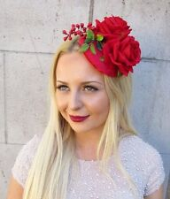Red Velvet Rose Berry Flower Fascinator Hair Clip Hat Vtg Races Ascot 1950s 2416
