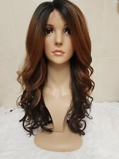 Ombre Brown Human Hair Wig Lace Front Side Fringe Auburn Black Brown