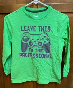 Old Navy Boys Medium 8 Long Sleeve T Shirt Leave This To The Professional Gamer