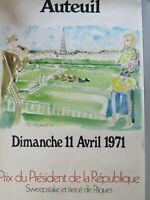 Affiche Auteuil 1971 / Prix du Président de la République / Illustrée Touchagues