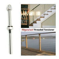"""50x Swage Threaded Stud Tension End Fitting Terminal for 1/8"""" Cable Deck Railing"""