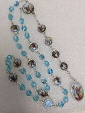 ANGEL MICHAEL CHAPLET rosary blue crystals made in Poland Italian parts 16""