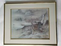 Beautiful Winter Print Stamped Pencil Signed numbered by Lena Liu Framed 16 x 20