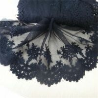 Black Lace Flower Embroidered Tulle Trim Wedding Dress Clothes Sewing Craft 1yd