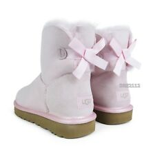 UGG Mini Bailey Bow II Metallic Sea Shell Pink Fur Boots Womens Size 6 *NIB*