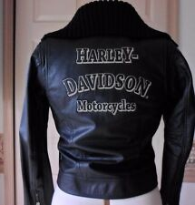 Genuine Harley Davidson Leather Jacket  Embroidered Womens SMALL Maven Black