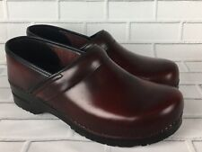 Sanita Danish Nursing Clogs Shoes Burgundy Red Leather Uniform Mens 44 10-10.5