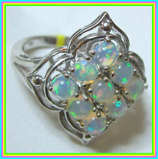 Genuine Ethiopian Welo Opal 2.4ct  Ring Platinum Sterling Silver 925 size 7