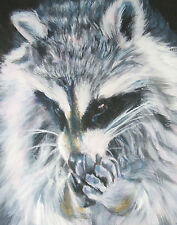 "Raccoon art wildlife PRINT of lashepard painting  LSHEP 8x10"" forest animal"
