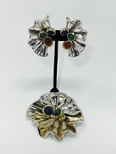 Clip Earrings & Brooch /Pin Israel Vintage Large David Varsano Sterling Silver