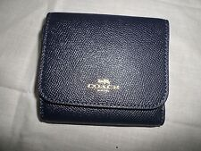 Coach 57584 Midnight Navy Blue Leather Card Holder Trifold Small Wallet NWT $135