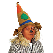 Adult Scarecrow Hat Wizard Of Oz Costume Straw Hair Tattered Pointed