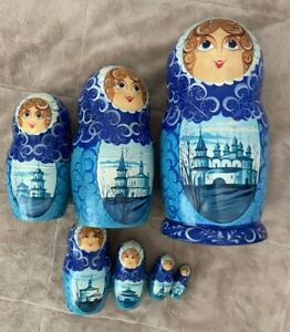 Matryoshka, wooden Russian doll, hand-painted, 7 pieces nesting buildings blue