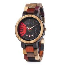 Multi-Color Wood Watch With Stylish Dial Design Date Display Mens Wrist Watch