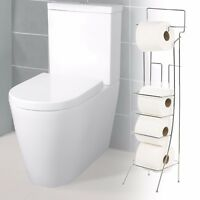 Square Free Standing 4 Roll Toilet Paper Holder Tissue Bathroom Dispenser Stand