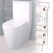 Square Free Standing 4 Roll Toilet Paper Holder Tissue Bathroom Dispenser Stand