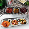 3 Grids Stainless Steel Sushi Sauce Dip Spices Dish Bowl Snack Plate Tableware