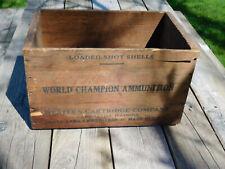 Vintage Western Wooden Ammo Box Shot Shells Shotgun 12 Ga. World Champion