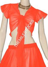 TMS Orange Ruffle Top Choli BellyDance Club Costume Boho Tribal Blouse Haut