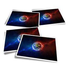 4x Rectangle Stickers - Earth Moon Space Nebula Galaxy  #44927