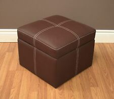 Footstool Ottoman Small Hassock Brown Storage Flip Top Chair Rest Seat Cube